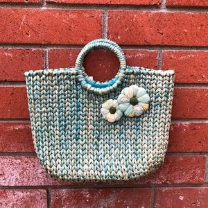 Super Cute Ann Taylor Loft Turquoise Straw Tote